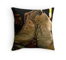 """photoj """"These Boots Have Walked Many Miles"""" Throw Pillow"""
