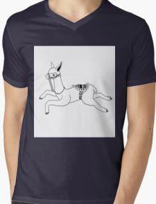 Llama Face Mens V-Neck T-Shirt