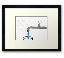 Faucet with dripping water into a cup Framed Print