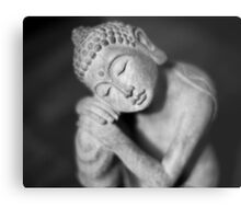 Black and white Buddha Metal Print