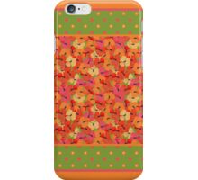 Poppies and Polka Dots Border Pattern on Green iPhone Case/Skin