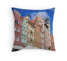 Gdansk, Poland renovated buildings near the old Town Hall Throw Pillow