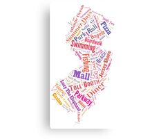 New Jersey Wordle - Pink Canvas Print