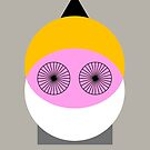 Minimal modern funny man face with beard and eye wheels by mikath