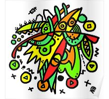 Abstract Drawing Colourful Mess Poster