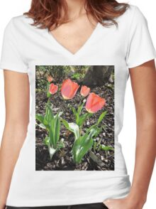 5 Tulips Women's Fitted V-Neck T-Shirt