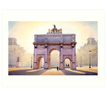 """Riding the Light"" Carousel in Paris Watercolor  Art Print"