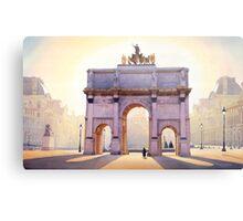 """Riding the Light"" Carousel in Paris Watercolor  Metal Print"