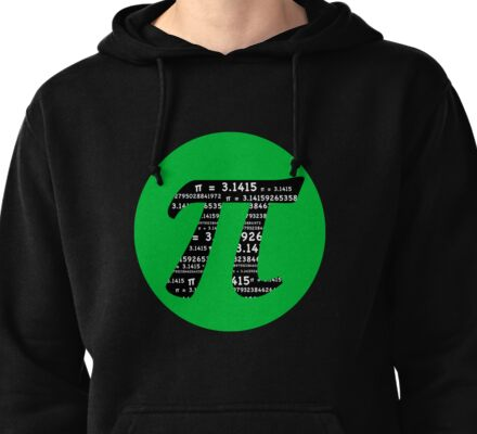 Pi Day graphic in green and black  Pullover Hoodie