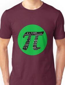 Pi Day graphic in green and black  Unisex T-Shirt