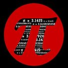 Pi Day graphic in red and black  by Marianne Campolongo