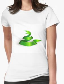 Green ribbon. Snake.  Womens Fitted T-Shirt