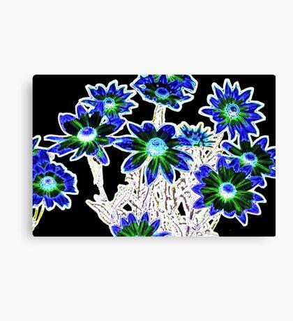 Flower pattern on black Canvas Print