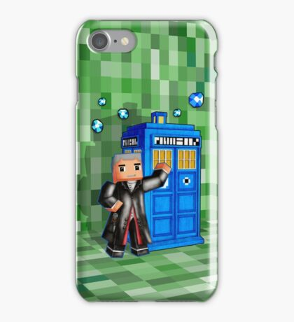 8bit 12th Doctor with blue phone box iPhone Case/Skin