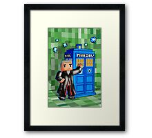 8bit 12th Doctor with blue phone box Framed Print