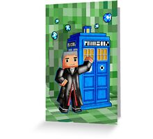 8bit 12th Doctor with blue phone box Greeting Card