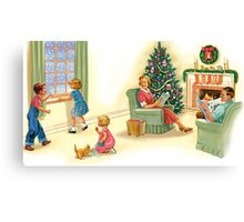 dick and jane family xmas Canvas Print