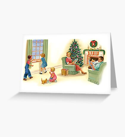 dick and jane family xmas Greeting Card