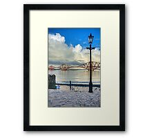 The Boathouse Steps in the Snow Framed Print