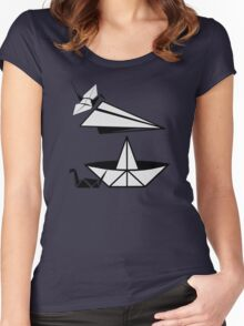 ORIGAMI paper airplane paper duck and paper crane Women's Fitted Scoop T-Shirt
