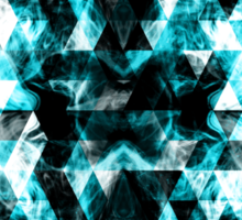 Electrifying blue sparkly triangle flames Sticker
