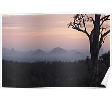 Sunrise over The Glasshouse Mountains Poster