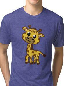 Baby Giraffe Cartoon Tri-blend T-Shirt