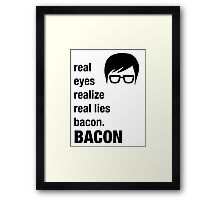 Funny Hipster Shirt Bacon Realize Poetry Humor Irony  Framed Print