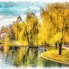 Swan Boats Boston Public Garden by Edward Fielding