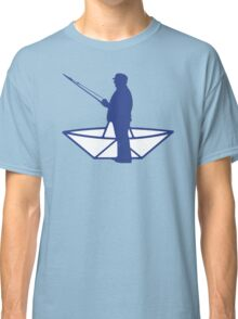 fisherman and a paper origami  boat Classic T-Shirt
