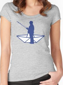 fisherman and a paper origami  boat Women's Fitted Scoop T-Shirt