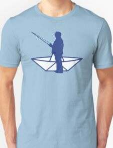 fisherman and a paper origami  boat T-Shirt