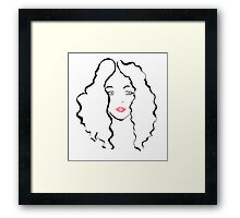 curly woman Framed Print