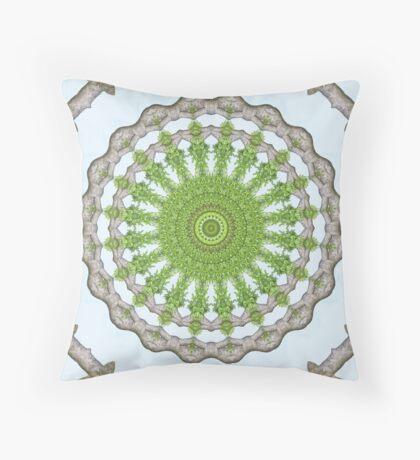 Bark Leaves Stone Kaleidoscope Art 3 Throw Pillow