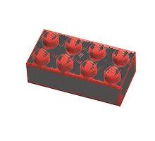 Minimalist Red Lego Brick by Ploob