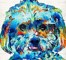 Colorful Dog Art - Lhasa Love - By Sharon Cummings by Sharon Cummings