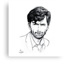 David Tennant as Alec Hardy Etching Canvas Print