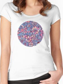 Sweet Spring Floral - soft indigo & candy pastels Women's Fitted Scoop T-Shirt