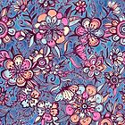 Sweet Spring Floral - soft indigo & candy pastels by micklyn