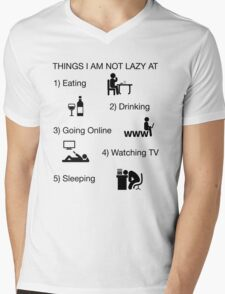 Funny Shirt Lazy Humor Novelty Nerdy Mens V-Neck T-Shirt