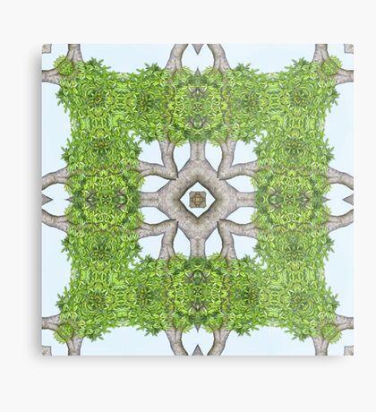 Bark Leaves Stone Kaleidoscope Art 7 Metal Print