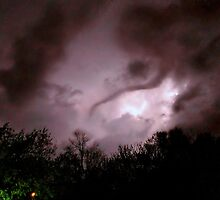 Funnel Cloud Back Lit By Lightning by Vince Scaglione
