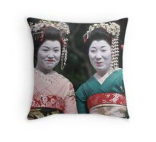 Happy Geishas Throw Pillow