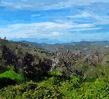 Laureana Cilento: landscape with  flowering trees and clouds by Giuseppe Cocco