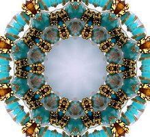 Aqua and Gold Beads Kaleidoscope by Erica Long