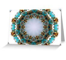 Aqua and Gold Beads Kaleidoscope Greeting Card