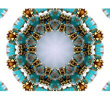 Aqua and Gold Beads Kaleidoscope Photographic Print