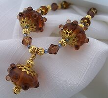 Bronze Spaceship Bead Necklace by Erica Long