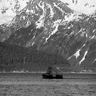 Fishing Boat, Resurrection Bay in B & W by Bob Moore