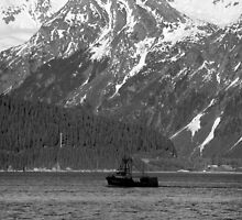 Fishing Boat, Resurrection Bay in B & W by Bob Moore